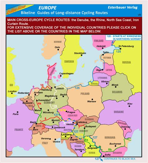 Europe: Bikeline Map/Guides of Long distance Cycling ...