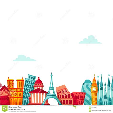 Europe travel background. stock vector. Illustration of ...