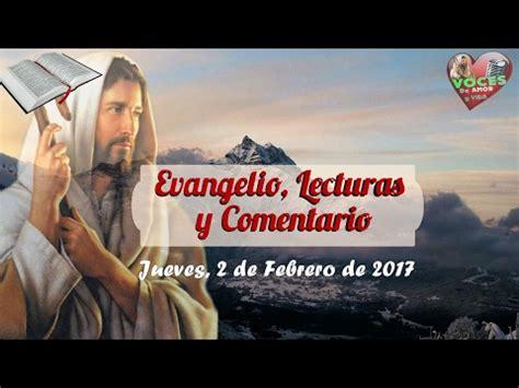 Evangelio de Hoy,Lecturas y comentario Jueves 2 de Febrero ...