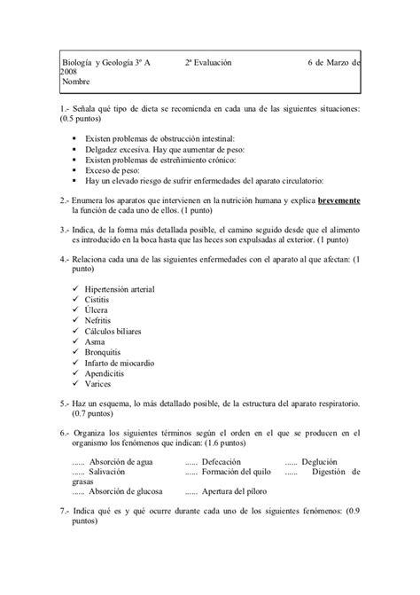 Examen de biología y geología 3eso y diver