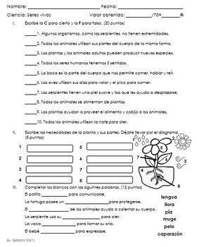 Examen de Caracteristicas de los seres vivos y su relación ...