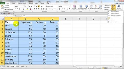 Excel 2010 Básico. Ordenar y filtrar celdas   YouTube