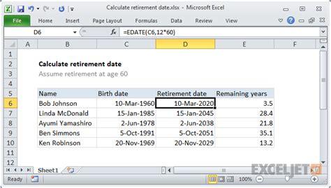 Excel formula: Calculate retirement date | Exceljet