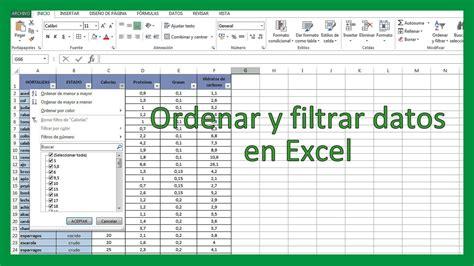 Excel   Ordenar y filtrar datos en Excel. Tutorial en ...