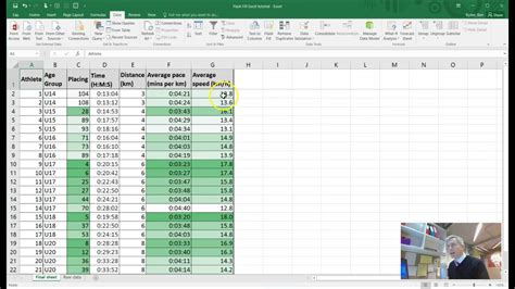 EXCEL TUTORIAL   creating a pace / speed athletics ...