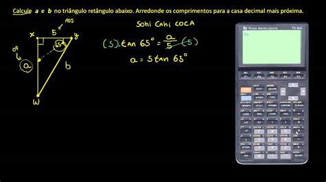Exemplo: trigonometria para calcular os lados e ângulos de ...