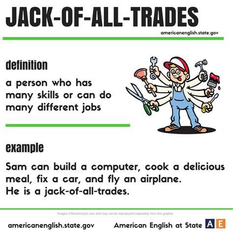 Expression: jack of all trades #learnenglish #idioms ...