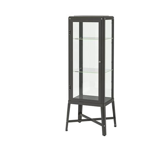 FABRIKÖR Glass door cabinet   dark gray   IKEA
