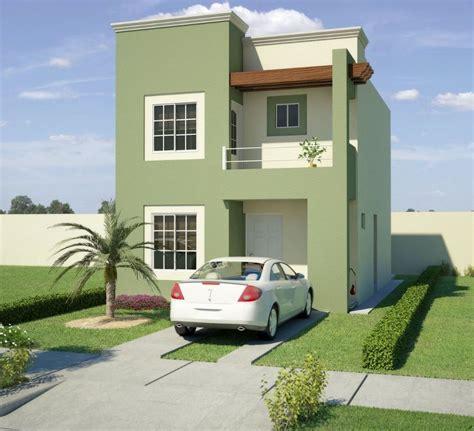 Fachada de casa en color verde cemento | Frentes de casas ...