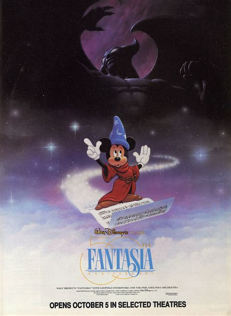FANTASIA Movie Poster RARE Walt Disney Mickey Mouse   eBay