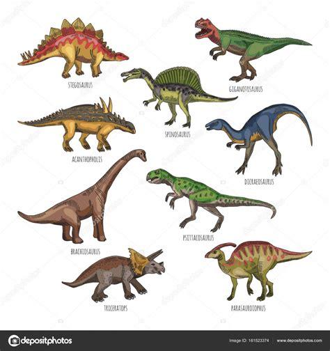 Farbige Abbildungen der verschiedenen Dinosaurier Arten ...