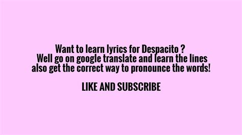 Fast and easy way to learn the lyrics for Despacito!   YouTube