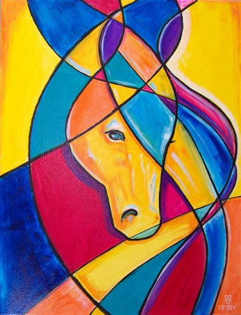 Favorite Horse Original Cubism abstract painting 24 x