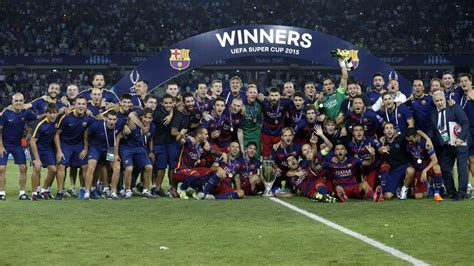 FC Barcelona   2015 UEFA Super Cup celebration   YouTube