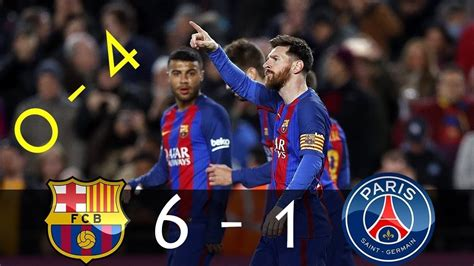 FC Barcelona 6 1 PSG All Goals and Highlights BEST ...