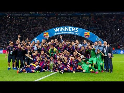 FC Barcelona lift the Champions League trophy 2015   YouTube