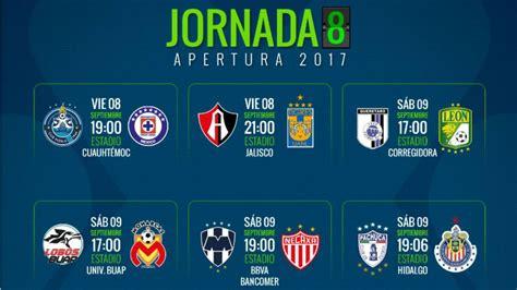 Fechas y horarios de la jornada 8 del Apertura 2017 de la ...