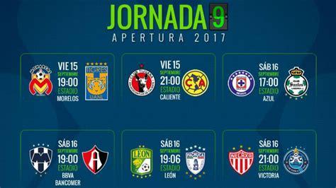 Fechas y horarios de la jornada 9 del Apertura 2017 de la ...