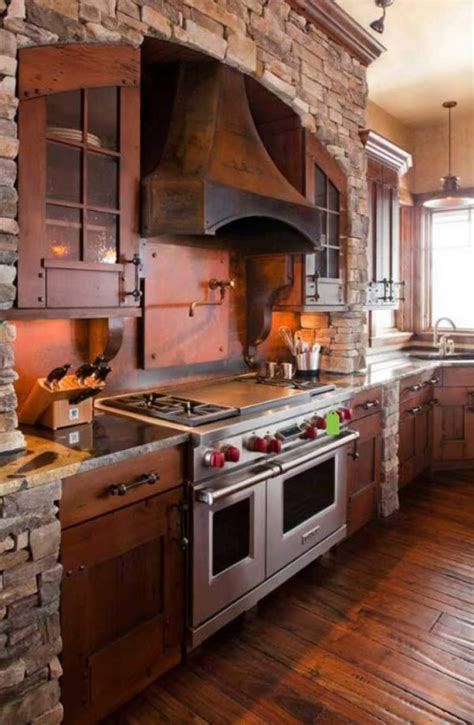Feel the Warmth of Rustic Kitchen Designs with Stones and Wood