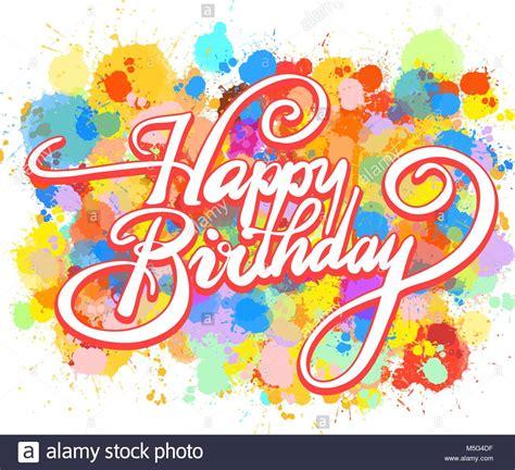 Feliz Cumpleaños palabra hand lettering. Coloridas ...