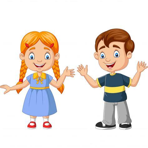 Feliz niño y niña de dibujos animados | Vector Premium