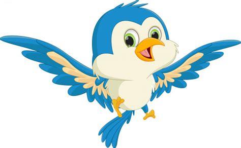 Feliz pájaro azul dibujos animados volando   Vector Premium