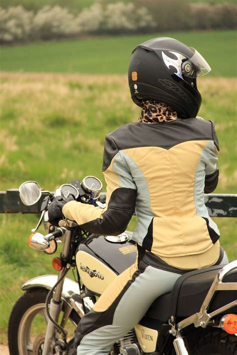 Female motorcycle clothing, textile and leather ...
