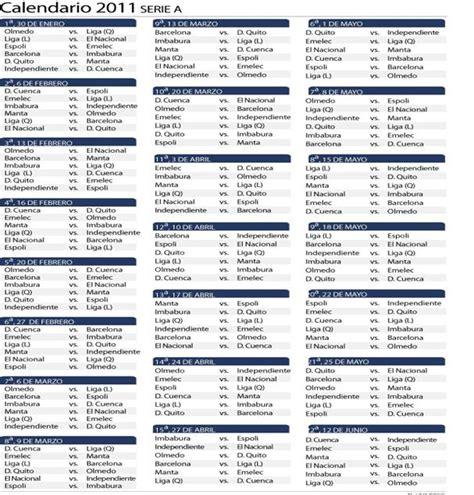 Ferris Sports: Fútbol Ecuatoriano   Calendario Serie A