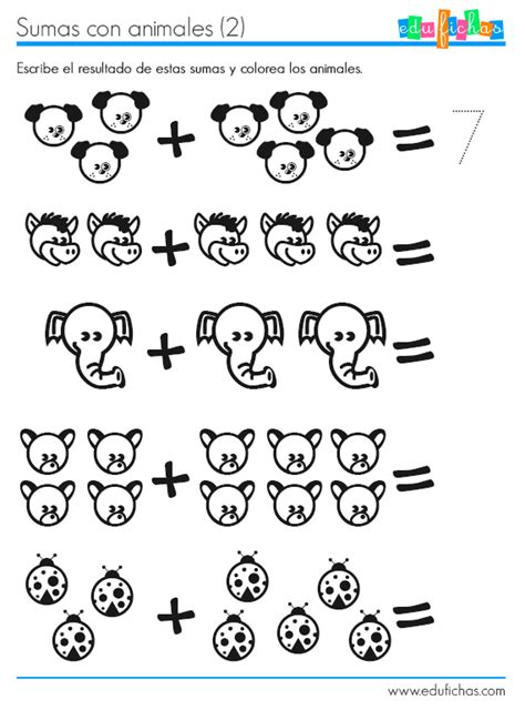 Ficha de sumas para preescolar. Aprender a contar y sumar.