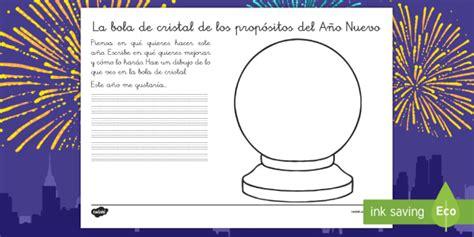 Ficha: La bola de cristal Los propósitos del Año Nuevo ...