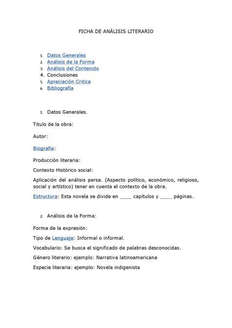 Ficha para realizar analisis literario by azucena figeroa ...