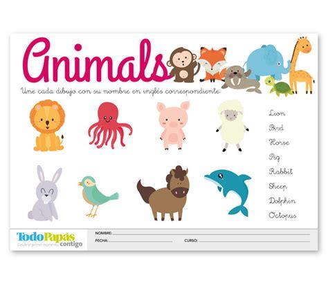 Ficha sobre vocabulario de los animales en inglés   TodoPapás