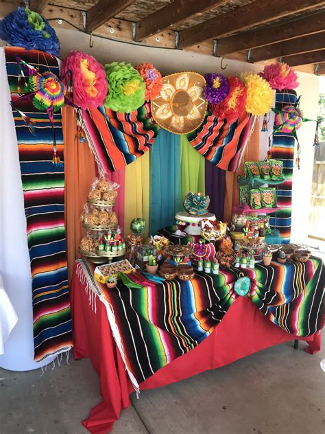 Fiesta candy table | Mexican theme party decorations ...