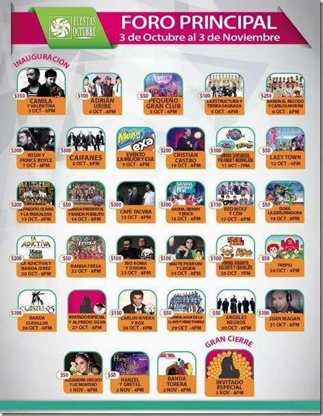 Fiestas de Octubre 2014: Cartelera del Foro Principal ...