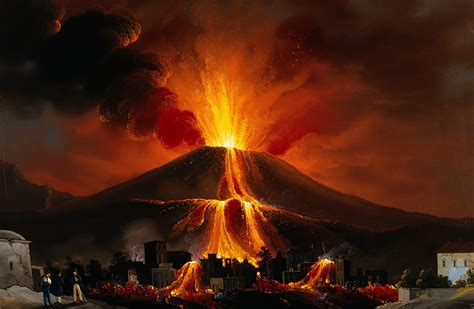 File:Eruption of a volcano above a village; lava covering ...