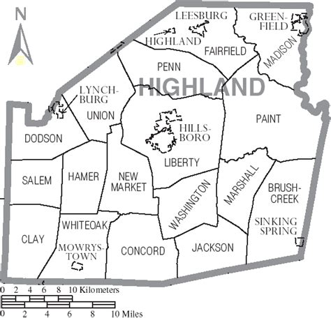 File:Map of Highland County Ohio With Municipal and ...