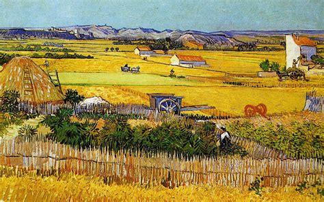 File:Vincent Van Gogh, A Harvest Landscape with Blue Cart ...