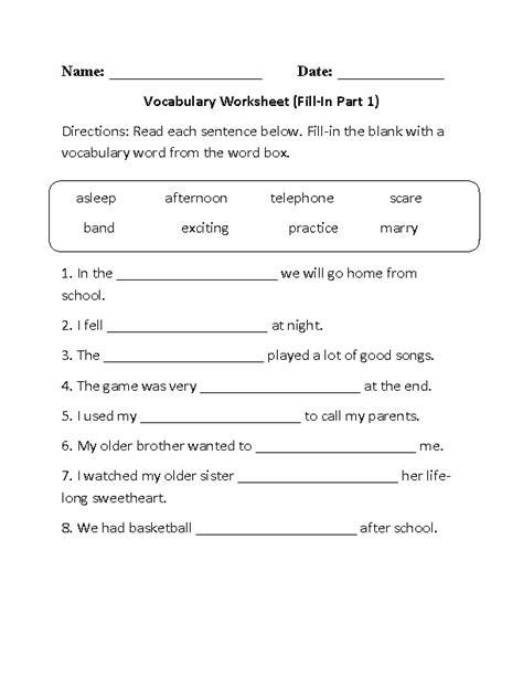 Fill In Vocabulary Worksheet Part 1 beginner   Vocabulary ...