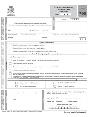 Fillable Online Modelo 790 de pago de tasas   Guardia ...