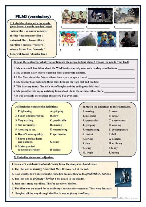Films  vocabulary exercises  worksheet   Free ESL ...