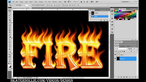 Fire and flame font text design tutorial in adobe ...