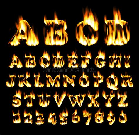 Fire Font, Alphabet Of Flame. Stock Illustration ...