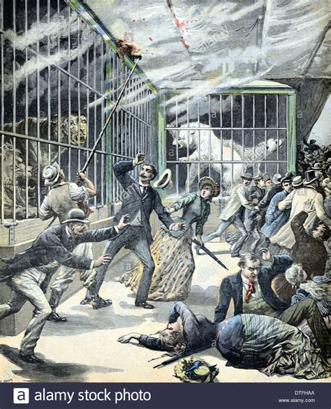 Fire in a Zoo or Menagerie Paris France 1891 Stock Photo ...
