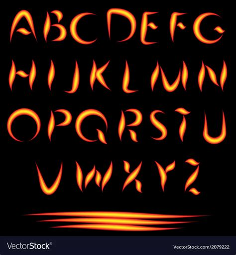 Fire Letters Burning Font Glowing Alphabet Vector Image