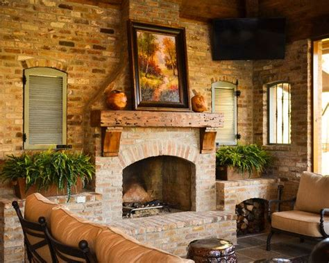 Fireplace, Fascinating Rustic Patio With Cool Brick ...
