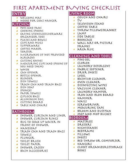 First apartment buying checklist   Apartment checklist ...