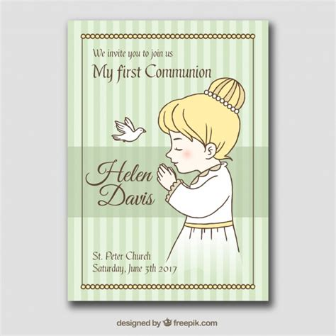 First communion card with drawing of girl praying Vector ...