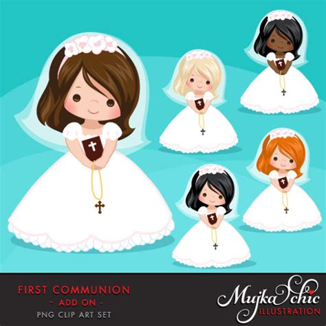 First Communion Clipart for Girls. Communion characters