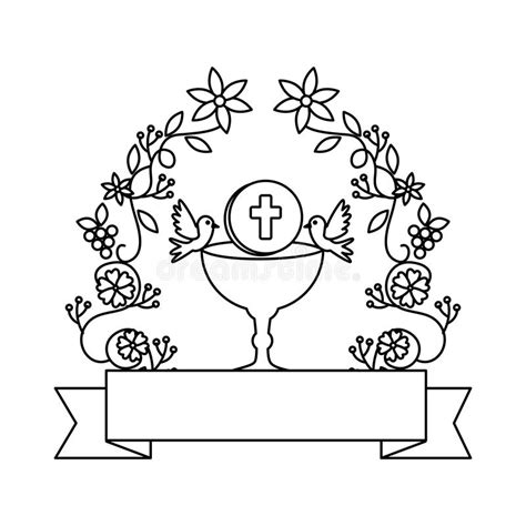 First Communion In Chalice With Floral Crown Stock Vector ...