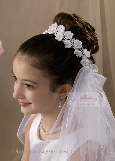 first communion wreath veils v803 | Penteados com trança